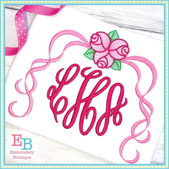 Roses with Ribbons Motif Design, Embroidery