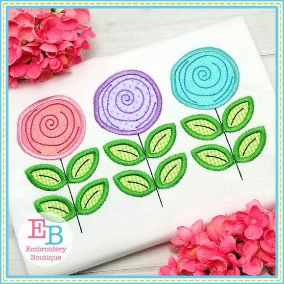 Rose Trio Satin Applique - Embroidery Boutique