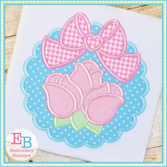 Scallop Rosebuds Big Bow Applique