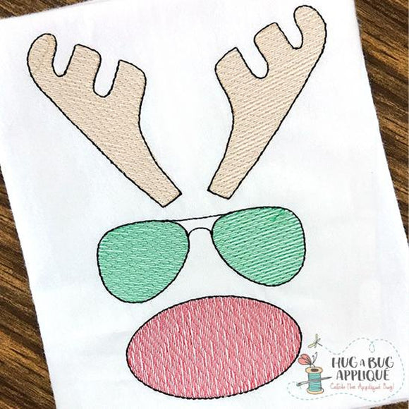Rudolph Glasses Filled Sketch Embroidery Design, Embroidery