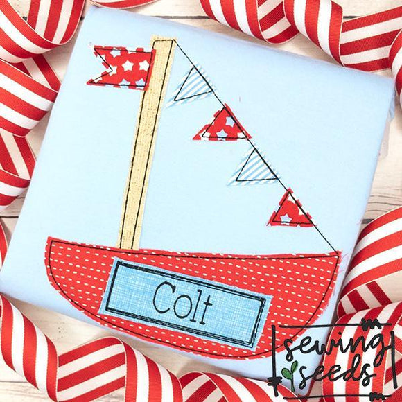 Sailboat Applique SS, Applique