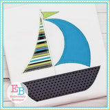 Sailboat 3 Blanket Stitch Applique, Applique