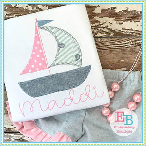 Sailboat 3 Blanket Stitch Applique - Embroidery Boutique