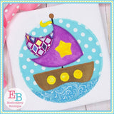 Sailboat Circle Zigzag Applique, Applique