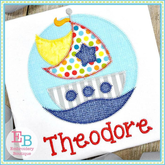Sailboat Circle Zigzag Applique
