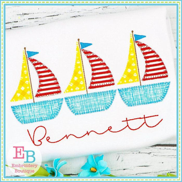 Sailboat Trio Blanket Stitch Applique, Applique