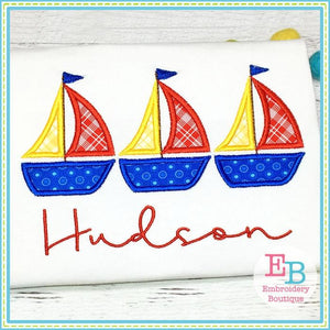 Sailboat Trio Applique - Embroidery Boutique