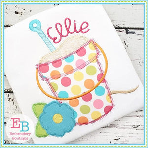 Sand Bucket with Flower Zigzag Applique