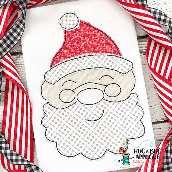 Santa Glasses Bean Stitch Applique Design, Applique