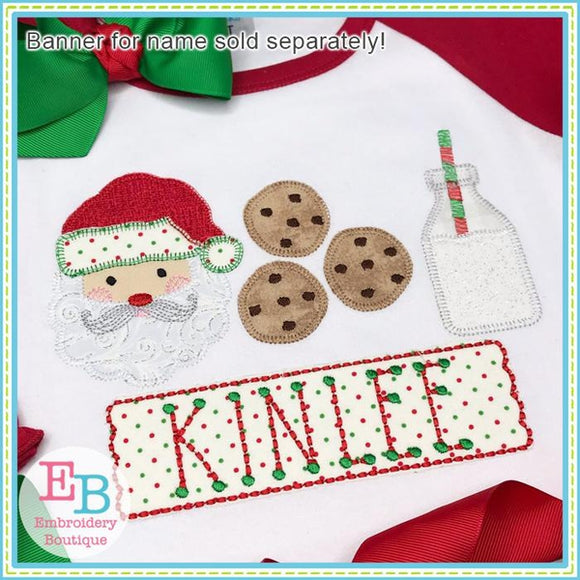 Santa Milk Cookies Applique - embroidery-boutique
