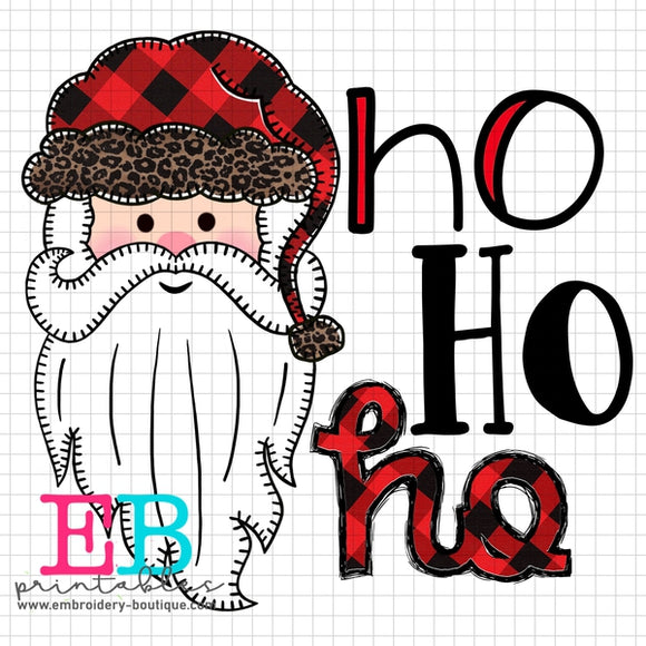 Santa Long Beard Printable Design PNG