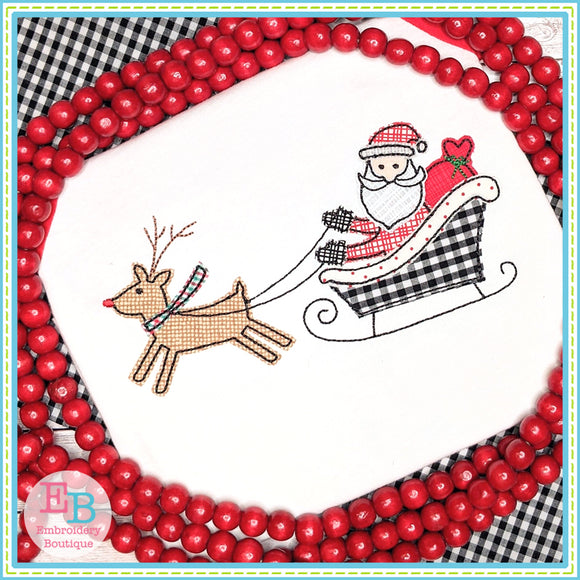 Santa Sleigh Bean Stitch Applique