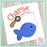 Fish on the Line Satin Applique