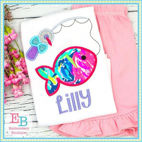 Fish on the Line with Bow Satin Applique, Applique