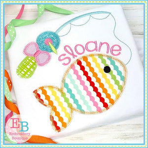Fish on the Line with Bow Zigzag Applique, Applique