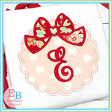 Scallop Circle with Big Bow Applique