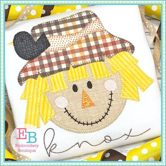 Scarecrow Boy Blanket Stitch Applique, Applique