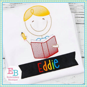 School Boy Sketch Design - embroidery-boutique