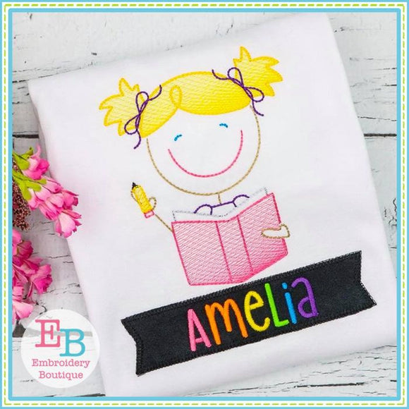 School Girl Sketch Design - embroidery-boutique