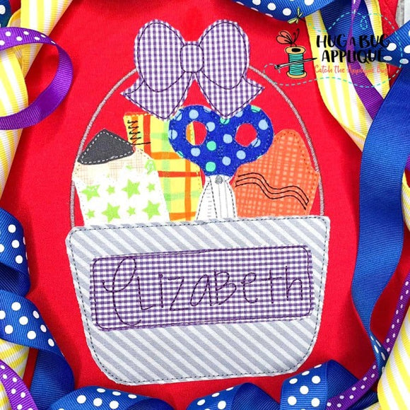 School Bow Bucket Bean Stitch Applique Design
