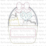 School Bow Bucket Bean Stitch Applique Design, Applique