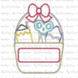 School Bow Bucket Zig Zag Stitch Applique Design, Applique