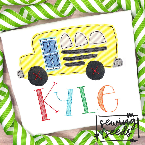 School Bus Applique SS - Sewing Seeds