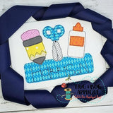 School Trio Box Bean Stitch Applique Design