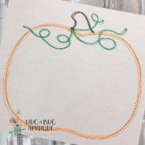 Pumpkin Scribble Embroidery Design, Embroidery