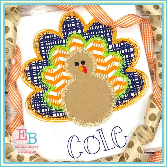 Turkey Scribble Applique - bow and no bow files included, Applique