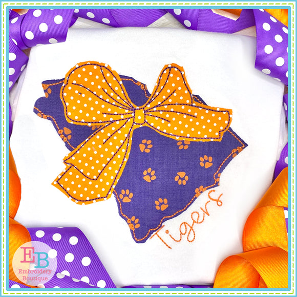 Big Bow South Carolina Bean Stitch Applique, Applique