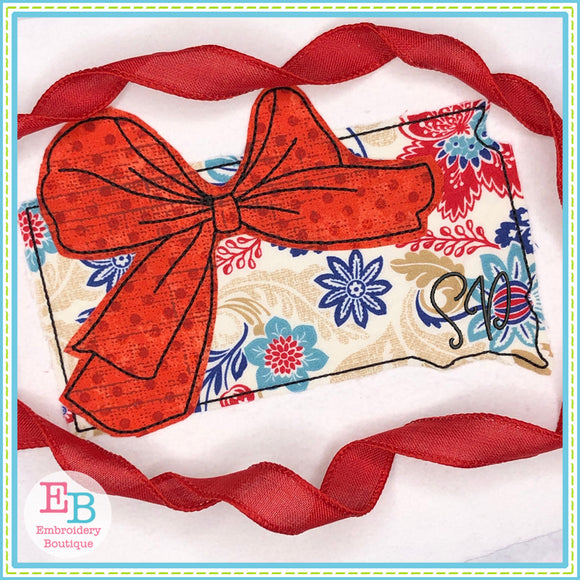 Big Bow South Dakota Bean Stitch Applique, Applique