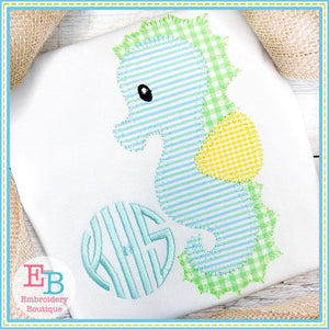 Seahorse 2 Blanket Stitch Applique, Applique