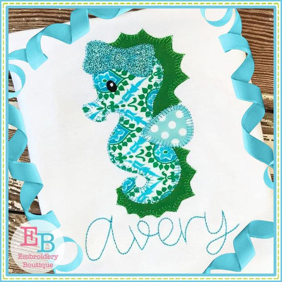 Seahorse Bow Blanket Stitch Applique, Applique