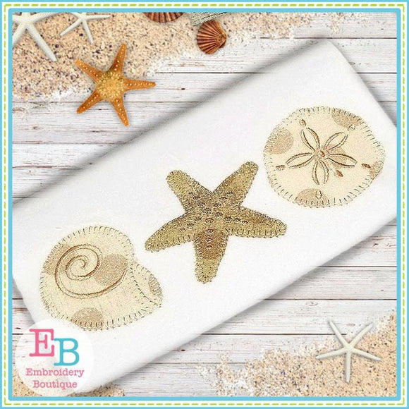 Shell Trio Blanket Stitch Applique, Applique