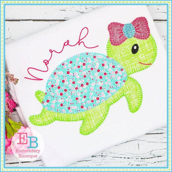Sea Turtle Bow Blanket Stitch Applique - embroidery-boutique