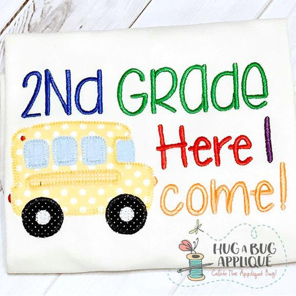 2nd Grade Bus Zig Zag Stitch Applique Design, Applique