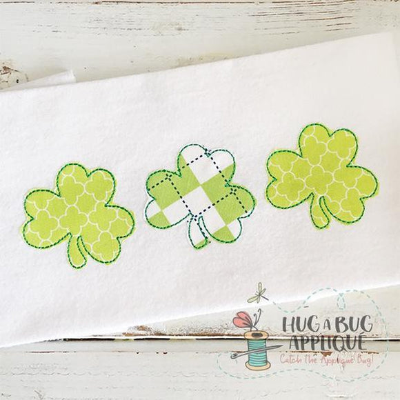 Triple Shamrock Bean Stitch Applique Design, Applique