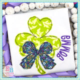 Shamrock Big Bow Bean Stitch Applique, Applique