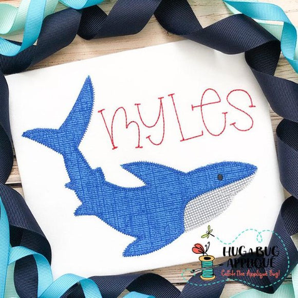 Shark 2 Zig Zag Stitch Applique Design-Embroidery Boutique