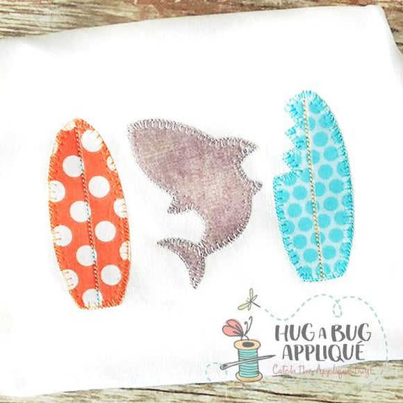 Shark Surf Board Blanket Stitch Applique Design, Applique