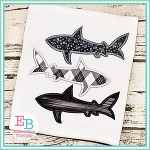 Shark Trio Applique, Applique