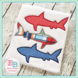 Shark Trio Zigzag Applique - embroidery-boutique