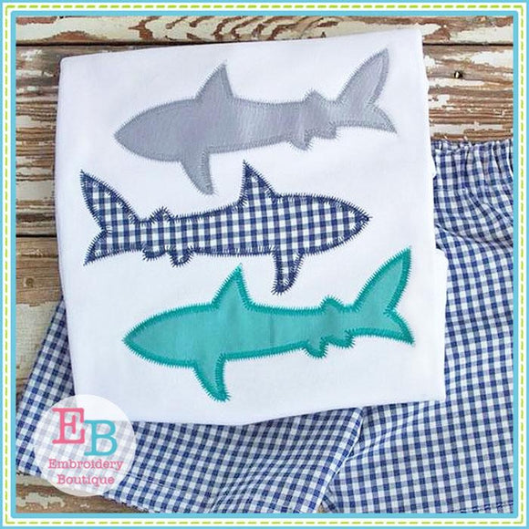 Shark Trio Zigzag Applique - Embroidery Boutique