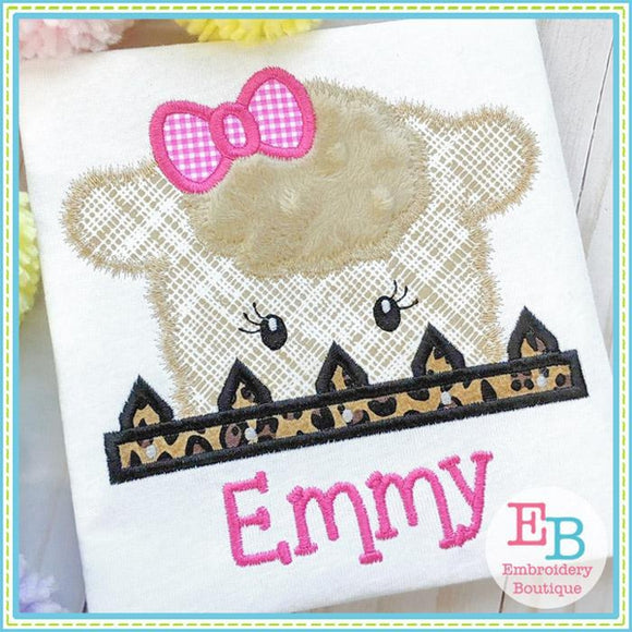 Sheep Girl Peeker Applique