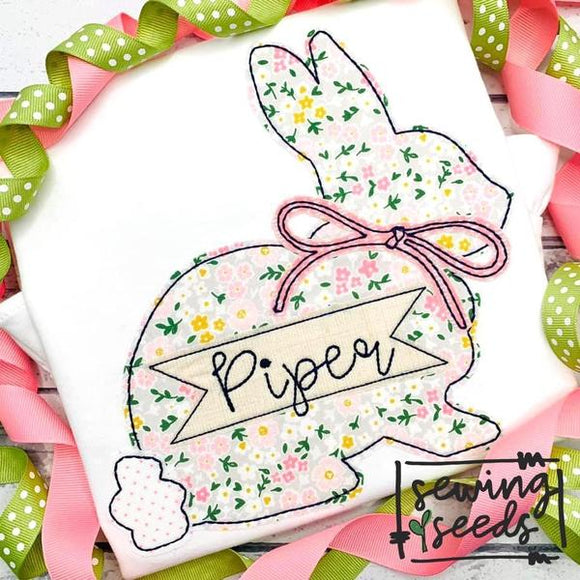 Simple Easter Bunny with Bow Applique SS, Applique