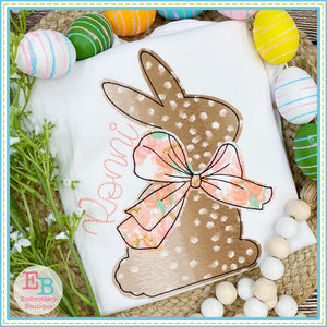 Simple Bunny Big Bow Bean Stitch Applique, Applique