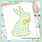 Simple Bunny Bow Tie Bean Stitch Applique, Applique