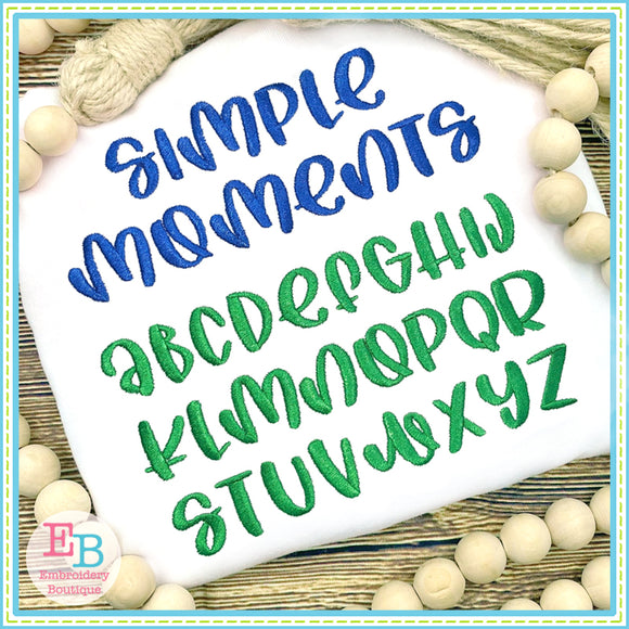 Simple Moments Embroidery Font, Embroidery Font