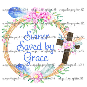 Sinners Saved by Grace Printable Design PNG